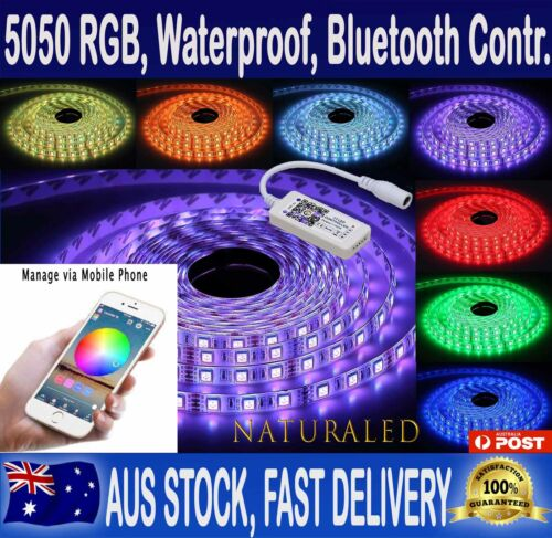 RGB LED Strip Lights IP65 Waterproof 5050 5M 300 LEDs 12V + Bluetooth Controller <br/> Control the lights from Mobile via app! Stock in NSW