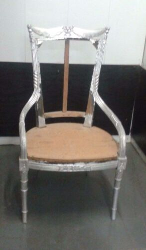 CHAIR Neo-Classical Bergere Carved Chair Frame  Silver Leaf Opera Prop Italy