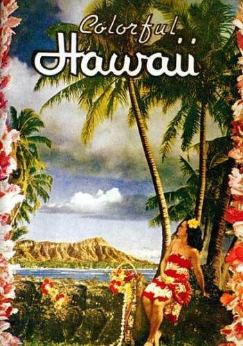 Colorful Hawaii 15x22 Old Hawaiian Hula surfing Print Hawaii Hand Numbered