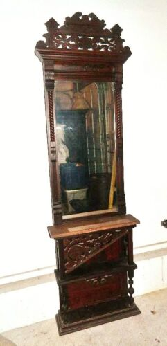 Antique Victorian Eastlake Marble Top Hall Tree Coat Rack with Mirror