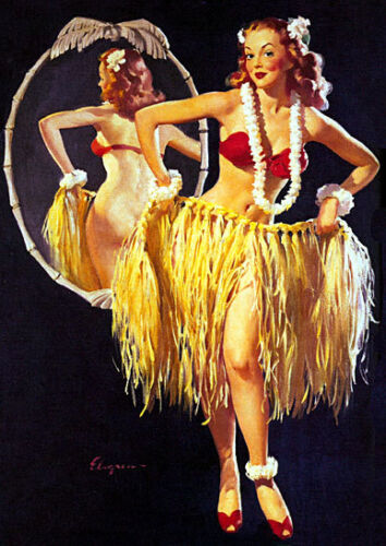 Sexy Hula Girl 30x44 Old Hawaii Hula surfing Print Hand Numbered Edition