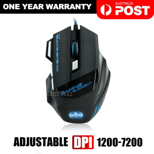 AU USB 7200DPI LED Wired Optical Backlight Gaming Mouse Support Pro 7 Button New