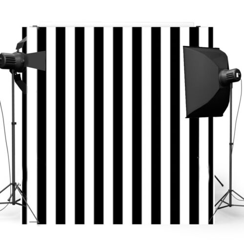 8x8FT Vinyl Black White Stripes Backdrop Photography Background Studio Props