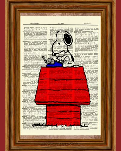 Snoopy Charlie Brown Dictionary Art Print Picture Poster Peanuts At Typewriter