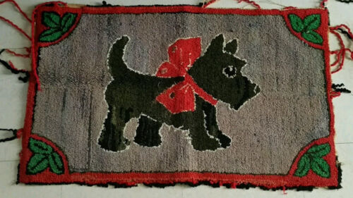 Early American Antique Scotty Dog Rug Folk Art Wool Hooked Primitive Pa. Made