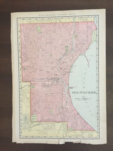 """Large 21"""" X 14"""" COLOR Rand McNally Map of the city of Milwaukee, WI-1905"""