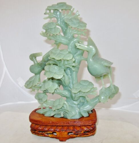 "10.9"" Vintage Chinese Carved Green Serpentine Pine Tree & Birds Statue w/ Stand"