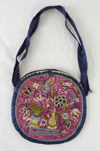 Antique Silk Chinese Needlepoint Coin Purse Bag 2 Sided Design Flowers Birds