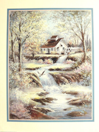 COTTAGE HOUSE OLD MILL SWANS PICTURE TWO ART PRINTS 16X20