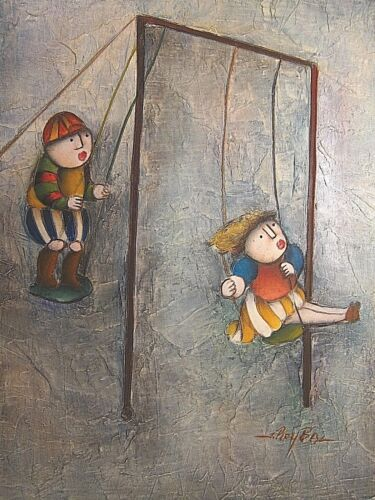 New Hand Painted 12x16 Boy Girl Chindren Playing Swing Cubism Oil Painting Art