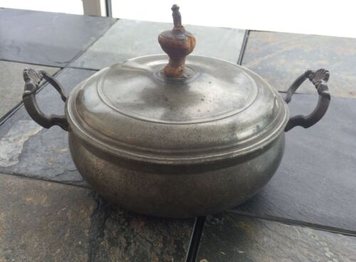 Unique Antique 18th Century Lidded Pewter Bowl Tureen Dated 1710-1730