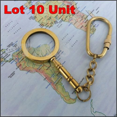 Lot Mini Magnifying Glass Brass Keychain Pendant Necklace Charm Magnifier Gift