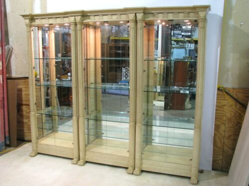 Marge Carson Triple Illuminated Neoclassic Style Mottled Cream Display Cabinets
