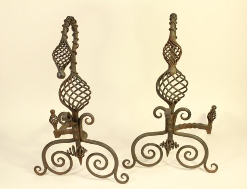 Antique Tiffany Roycroft Style Twisted Spiral Wrought Iron Fireplace Andirons