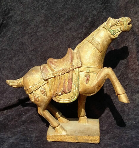 Chinese Tang Dynasty Style Wooden Polychrome Carved Horse