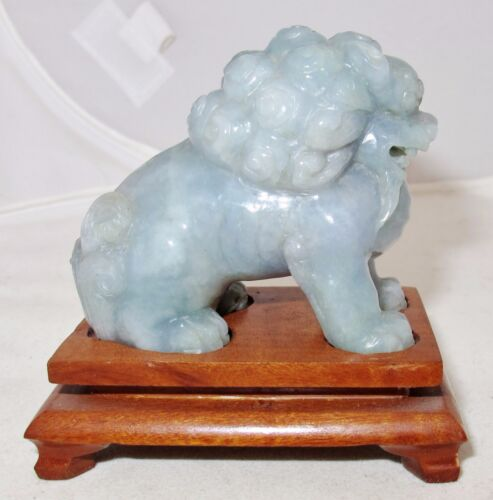 """2.6"""" Chinese Carved Gray / Lavender / Green JADEITE Jade FOO DOG Statue w/ Stand"""