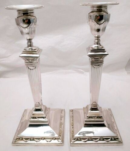 Pair of Tiffany & Co. Sterling Silver Column Candlesticks