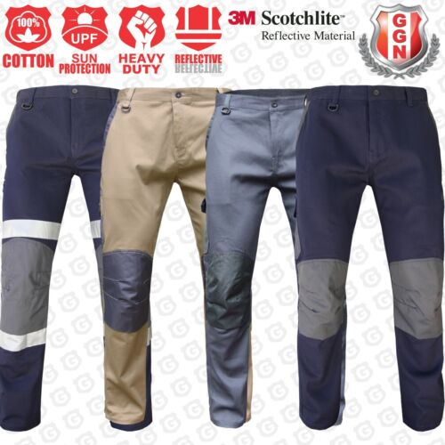 Mens WORK CARGO PANTS TROUSERS KNEE POCKETS Cotton Drill 3M REFLECTIVE UPF 50+