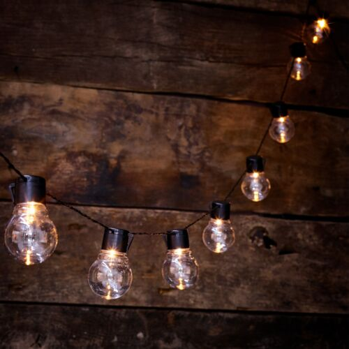 NEW Solar Powered Retro Bulb String Lights For Garden Outdoor Fairy Summer Lamp <br/> Available in White or Multi Colour **Weather Proof **