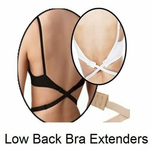 LOW BACK BRA EXTENDER Womens Strapless Backless Top Dress Strap Black White Nude