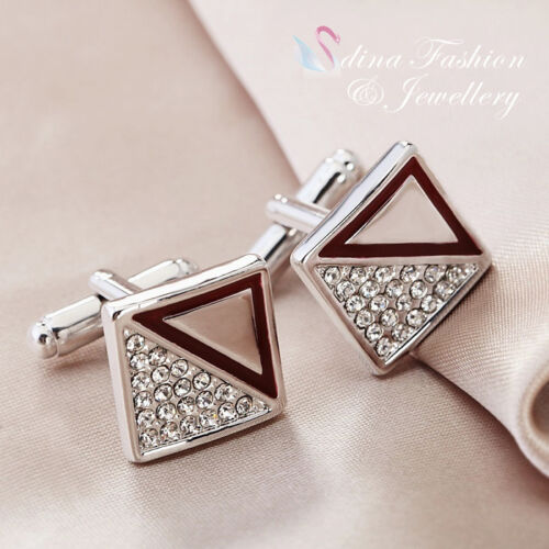 18K White Gold Plated Simulated Diamond Square Shaped Triangle Mens Cufflinks