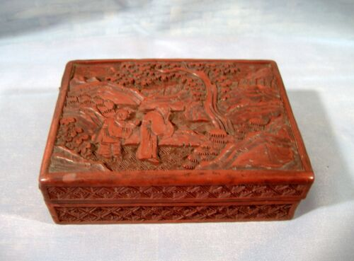 Antique Chinese Cinnabar Lacquer Cigarette Card Box Carved Monks Landscape