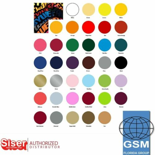 "SISER EASYWEED HTV Heat Transfer Vinyl 15"" x 1 and 15"" x 3 Yards 15"" x 5 yards  <br/> GSM FLORIDA. AUTHORIZED SISER DISTRIBUTOR."