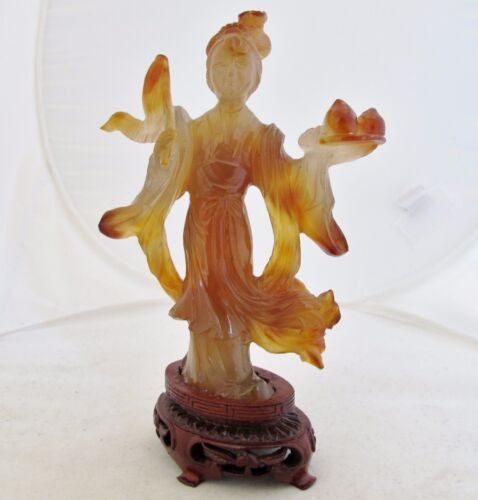"6.1"" Vintage Chinese Carved Burnt Orange Carnelian Agate Immortal Woman / Lady"