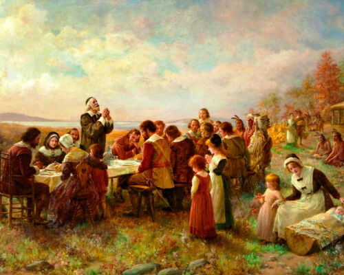 First Thanksgiving At Plymouth w/ Pilgrims & Indians 8x10 Real Canvas Art Print
