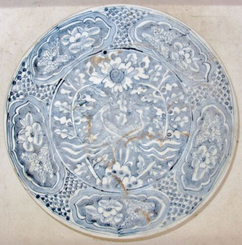 """10.45"""" MING Dynasty ? Antique Chinese Blue & White Pottery Bowl w/ Phoenix Birds"""