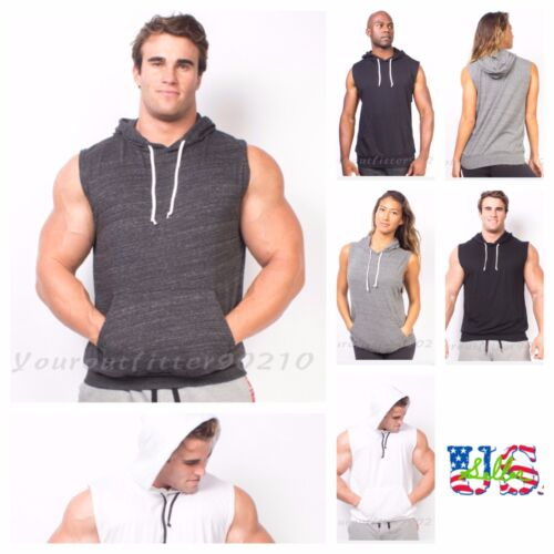 Men's Bodybuilding Tank Top Sleeveless T-Shirts Hoodie Muscle Gym Pullover S-2XL