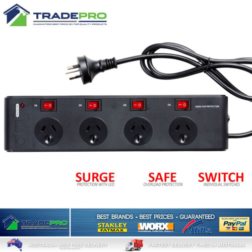 Power Board Surge Noise Filter Protector 4Way Switched Outlet Black Powerboard