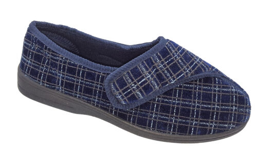 Mens Zedzzz Touch Fasten Slippers Navy Blue Check Washable Sizes 7 8 9 10 11 12