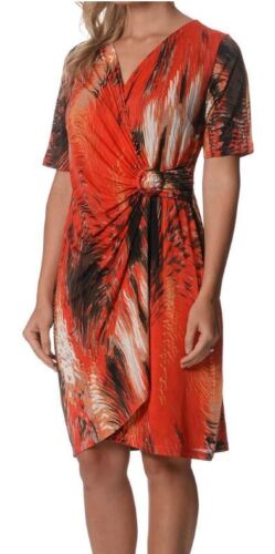 Drape Dress LILIA WHISPERS Red Turquoise Sizes 10 12 Women Crossover Wrap V Neck