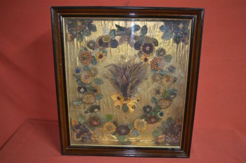 Victorian SHADOW BOX FRAME w/ Dried Flowers, Cones, Seeds Dated 1885, Excellent
