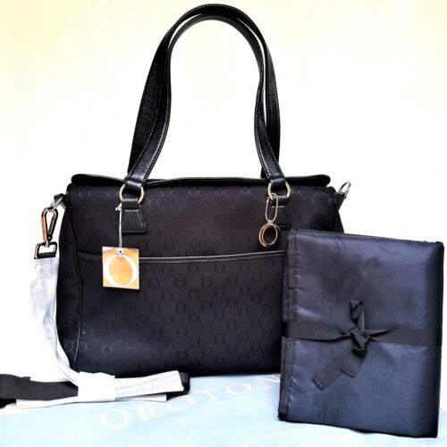 NEW Oroton Signature O Nappy Baby Bag Tote Handbag Black Canvas Leather RRP$495