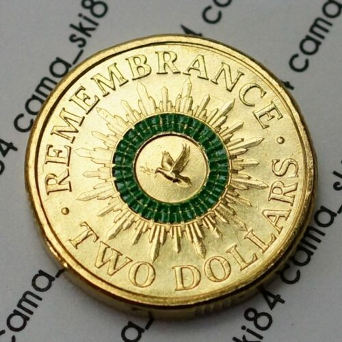 2014 Australian $2 two dollar Remembrance Green Colour Coin UNC Uncirculated