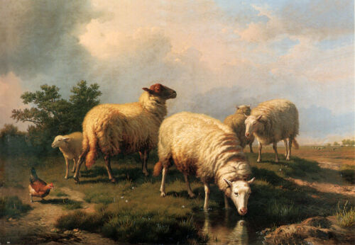 Oil Painting repro Eugene Verboeckhoven Sheep & A Chicken In A Landscape