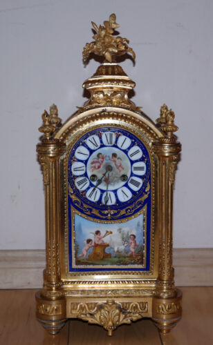 Sevres French Gild Bronze & Painted Porcelain Plaques Jeweled Clock Circa 1880s