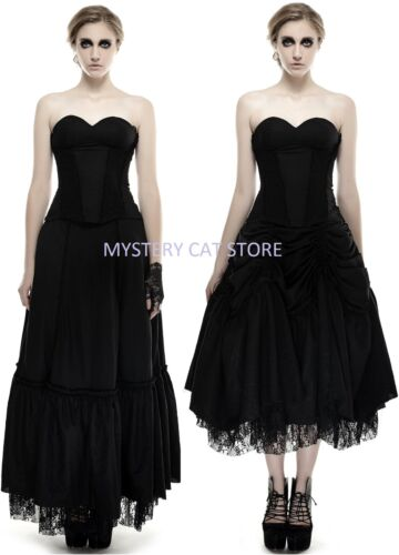 NEW Punk Rave Gothic Victorian Black Cotton Dress Q-292 ALL STOCK IN AUSTRALIA!
