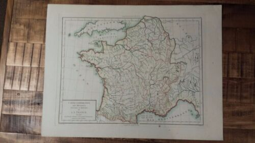 VERY NICE, ANTIQUE Hand Colored map of France - Pierre Francois Tardieu, c.1790