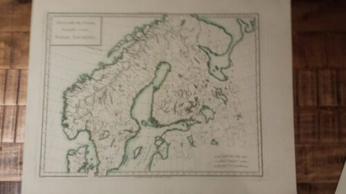 VERY NICE, ANTIQUE Hand Colored map of Ancient Sweden - P. Tardieu, c.1790