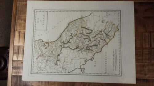 VERY NICE, ANTIQUE Hand Colored map/State of the Curch/Italy-P. Tardieu, c.1790