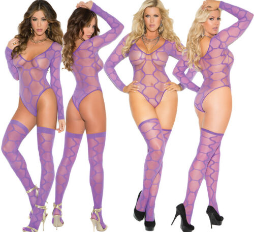 Elegant Moments Sexy Purple Hexagon Pattern Teddy Body Lingerie With Stockings
