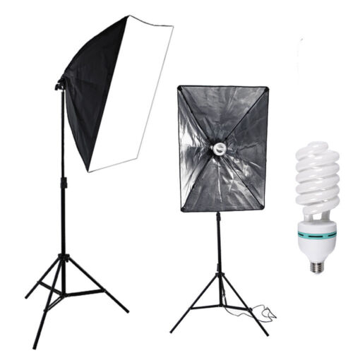 135W Photography Studio Soft Box Continuous Lighting Softbox Light Stand Kit USA