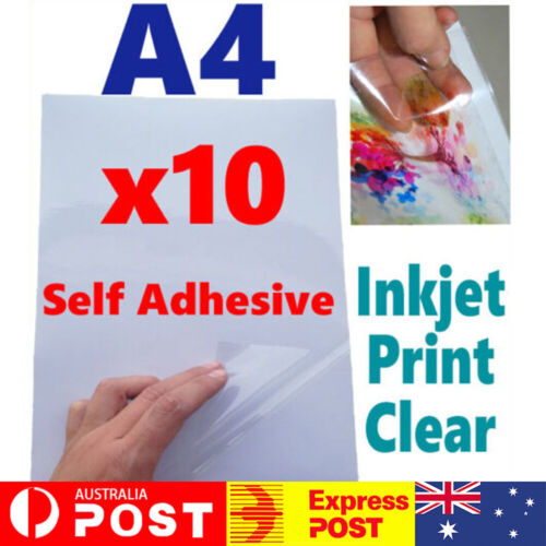 Vinyl Sticker Paper - Inkjet Printable A4 Sheets Gloss Glossy Self Adhesive
