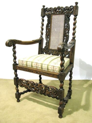 Heavily Carved Belgian-Made Armchair With Caned Back, Restored & Reupholstered