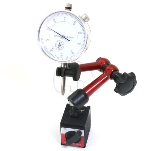 Toolrock Professional 0-10mm Dial Indicator Gauge with Magnetic Base /& Point ...