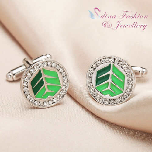 18K White Gold Plated Round Shaped Arrows Fletching Sign Men`s Cufflinks