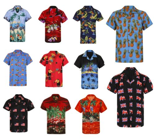 HAWAIIAN SHIRT MENS PALM TREE BEACH HOLIDAY PARROT FANCY DRESS STAG PARTY LOUD <br/> 18+ DESIGNS - BRAND NEW - FIRST CLASS DELIVERY S-XXXL!